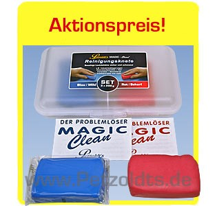 2x Reinigungsknete MAGIC-Clean Blau und Rot, 200g, Lackreinigung