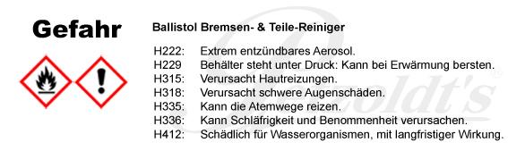 Ballistol, Bremsen- & Teile-Reiniger, CLP/GHS Verordnung