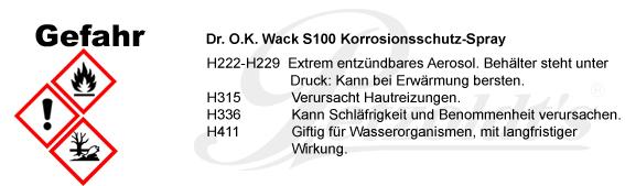 S100 Korrosionsschutz-Spray, Dr. O.K. Wack CLP/GHS Verordnung
