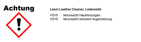 Lexol Leather Cleaner, Lederseife CLP/GHS Verordnung