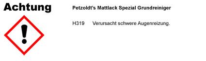 Mattlack Spezial Grundreiniger CLP/GHS Verordnung
